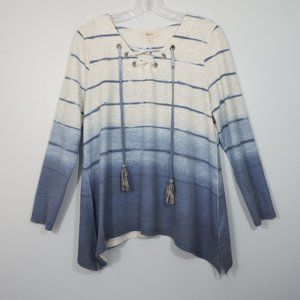Style & Co Blue and Gray Ombre Top M